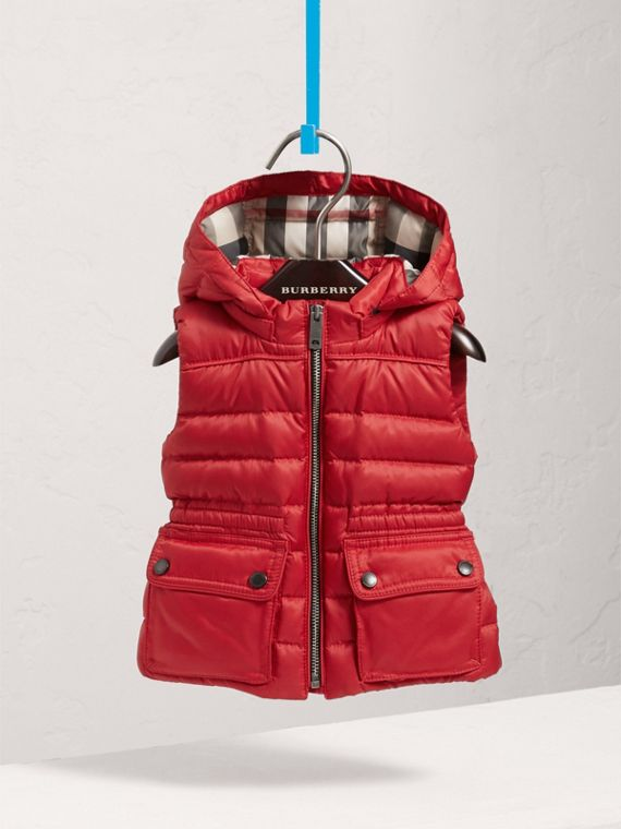 Detachable Hood Down-filled Gilet in Bright Cherry Red | Burberry - cell image 2