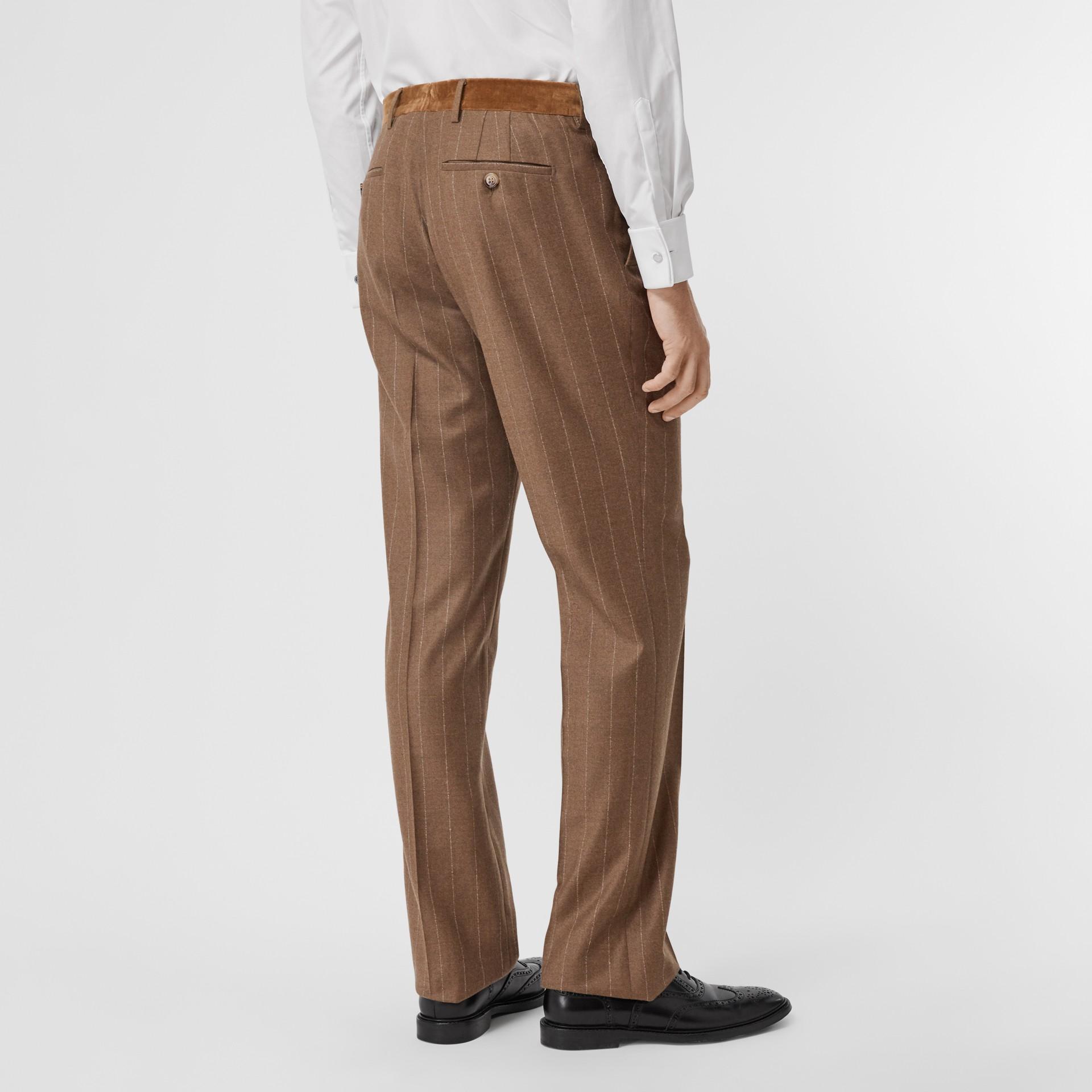 Classic Fit Velvet Trim Wool Cashmere Trousers in Dark Tan - Men | Burberry - gallery image 2