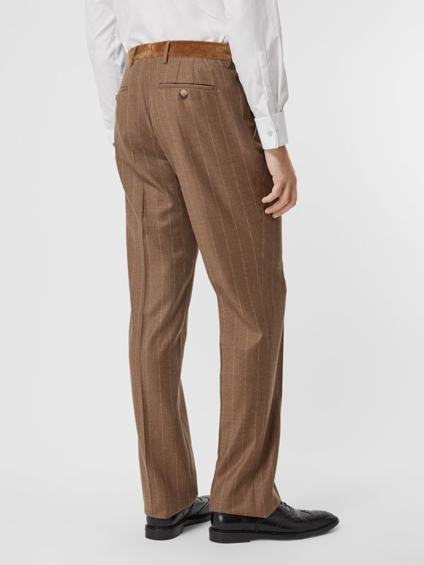 Classic Fit Velvet Trim Wool Cashmere Trousers in Dark Tan - Men | Burberry - cell image 2