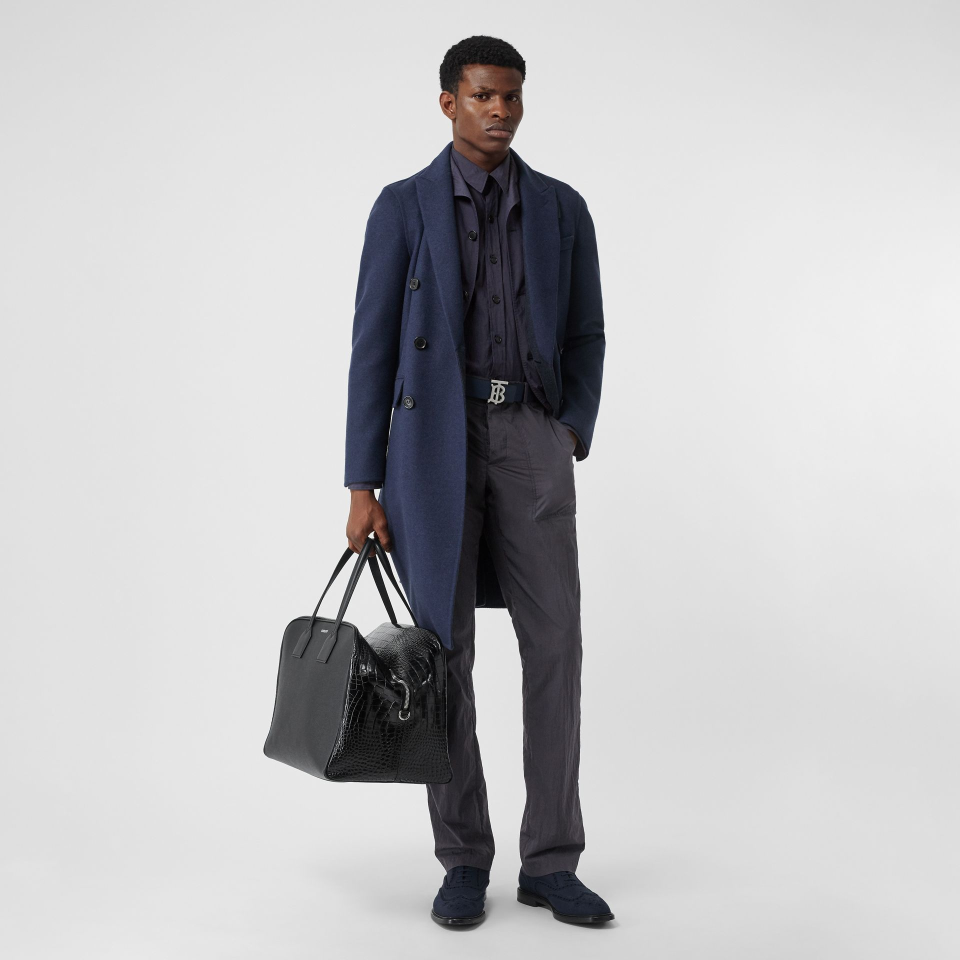 Crinkled Cotton Blend Tailored Jacket in Navy - Men | Burberry - gallery image 0