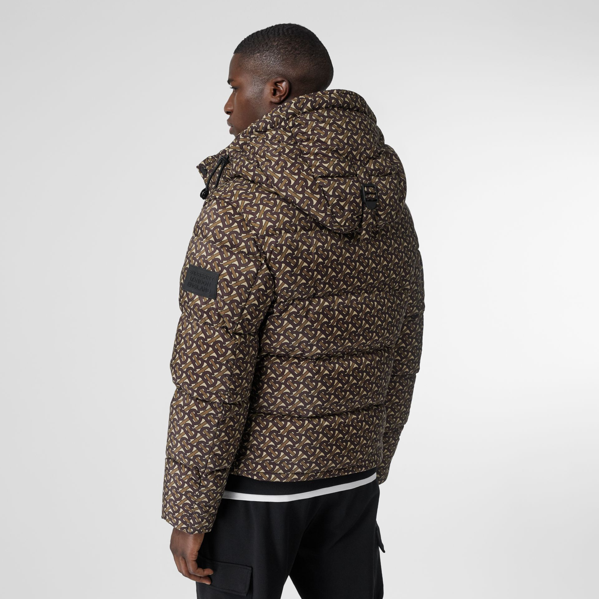 Detachable Sleeve Monogram Print Puffer Jacket in Bridle Brown - Men | Burberry Canada - gallery image 2
