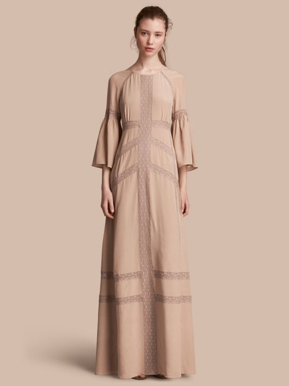 Floral Lace and Silk Dress - Women | Burberry