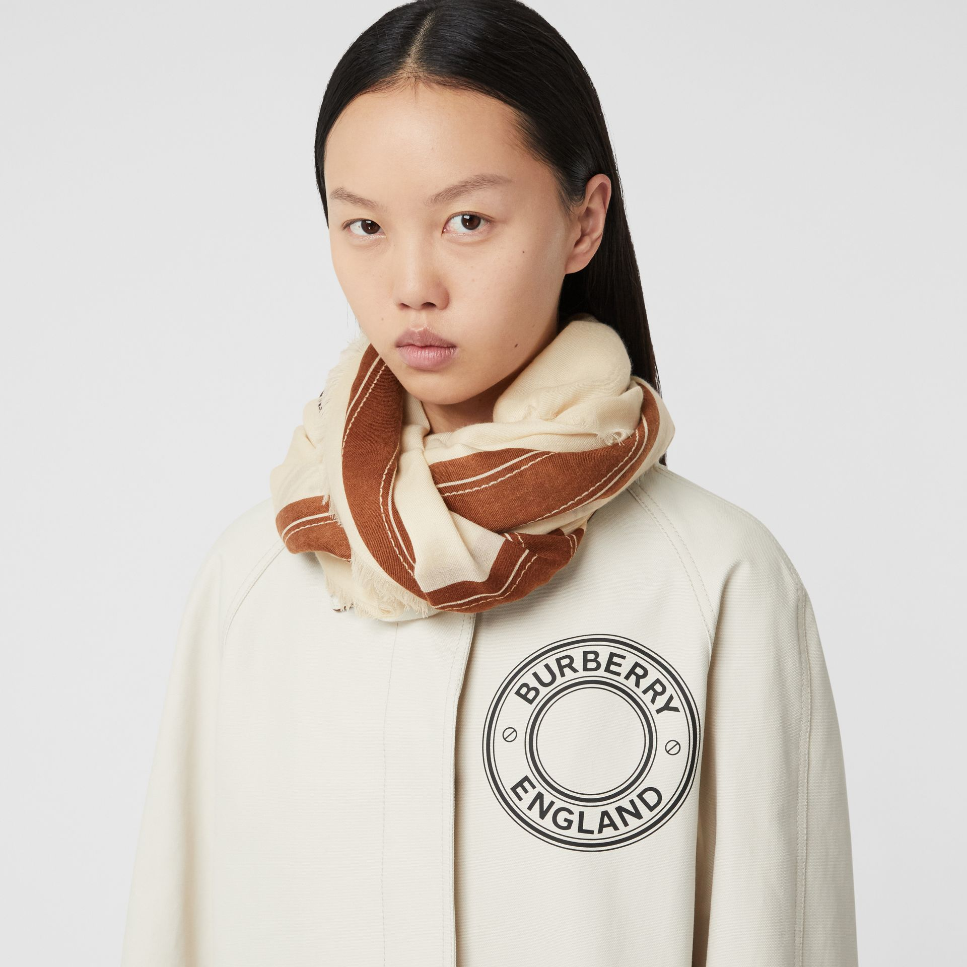 Logo Graphic Lightweight Cashmere Scarf in Natural White | Burberry Canada - gallery image 2