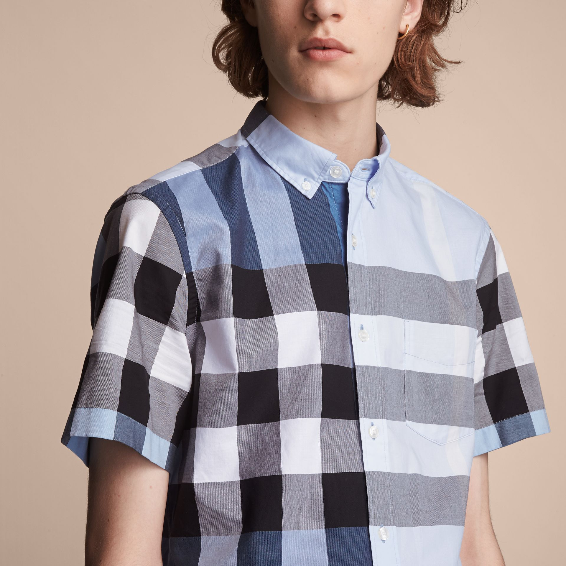 Button-down Collar Short-sleeve Check Cotton Shirt in Lupin Blue - gallery image 5