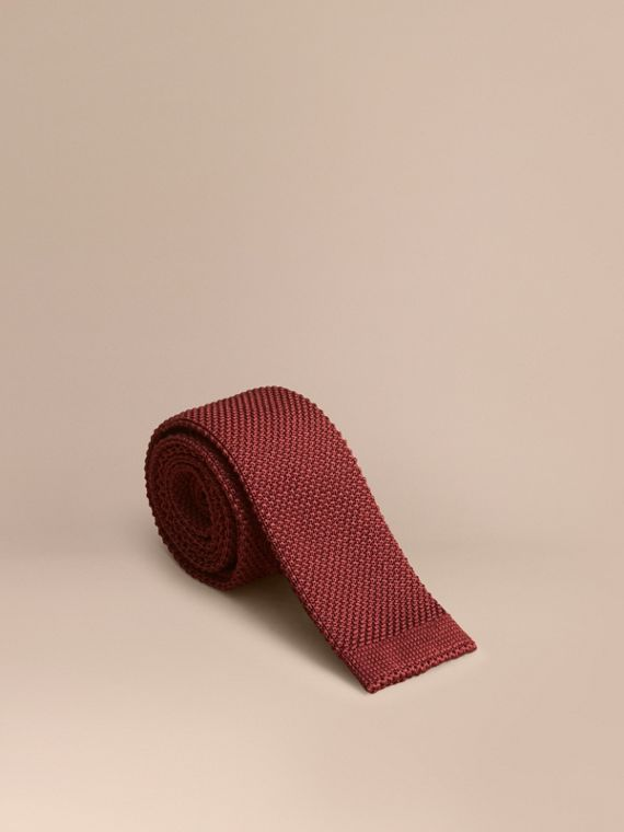 Slim Cut Knitted Silk Tie Deep Red