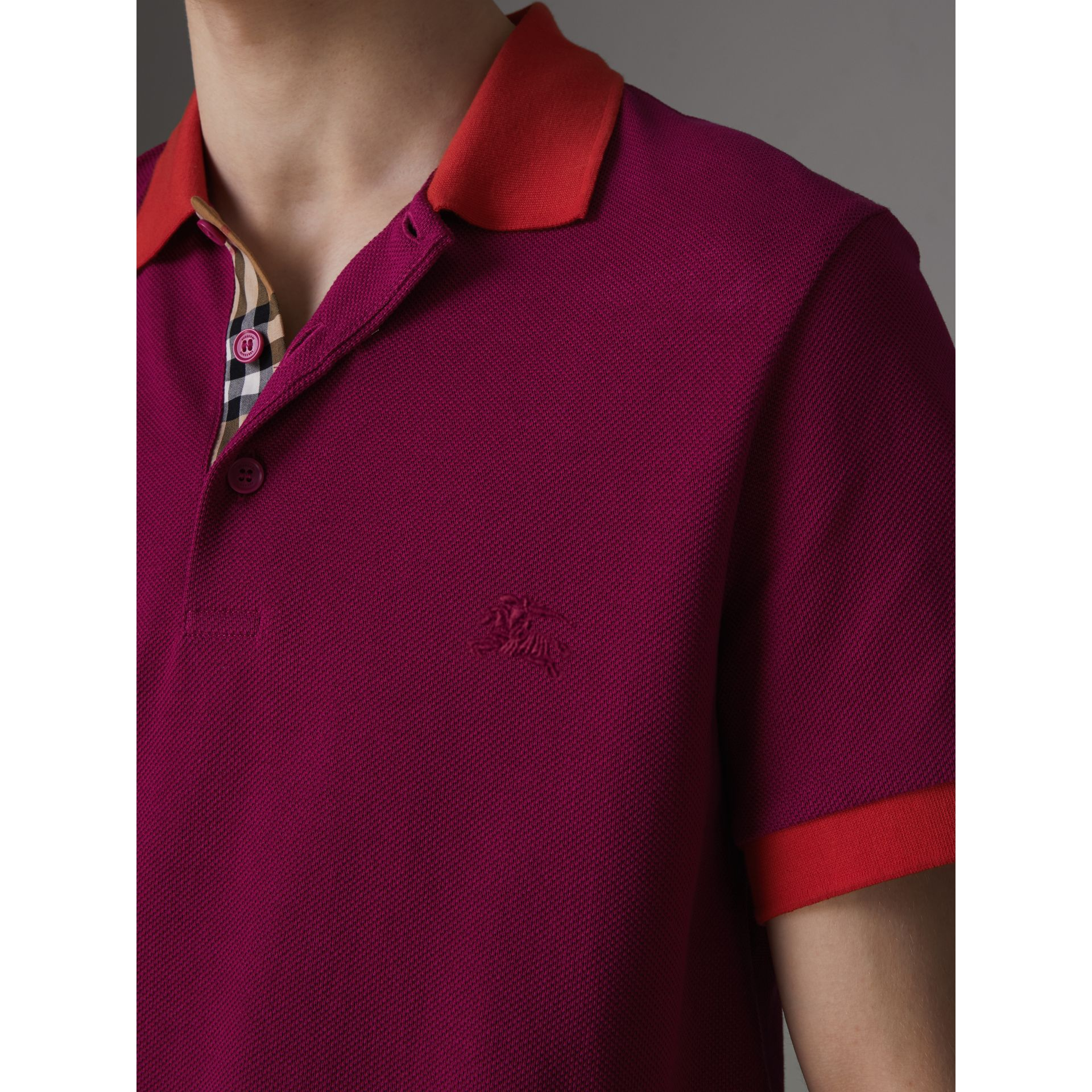 Contrast Collar Cotton Polo Shirt in Plum Pink - Men | Burberry Canada - gallery image 1