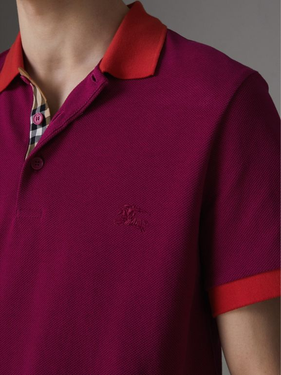 Contrast Collar Cotton Polo Shirt in Plum Pink - Men | Burberry - cell image 1