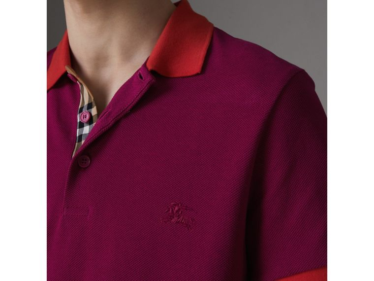 Contrast Collar Cotton Polo Shirt in Plum Pink - Men | Burberry Hong Kong - cell image 1