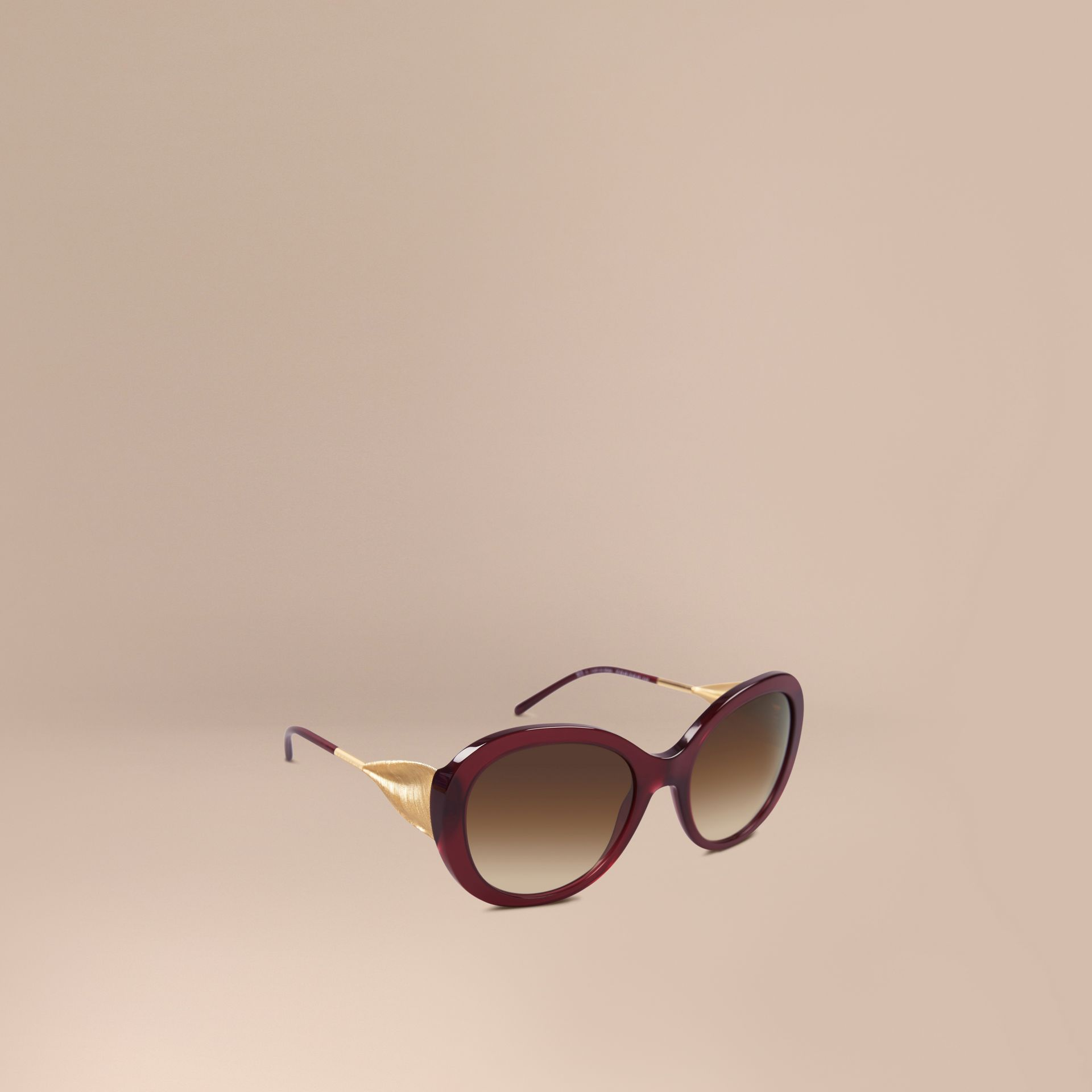 Oxblood Gabardine Collection Oversize Round Frame Sunglasses Oxblood - gallery image 1