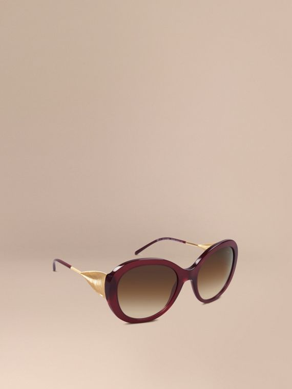 Gabardine Collection Oversize Round Frame Sunglasses Oxblood