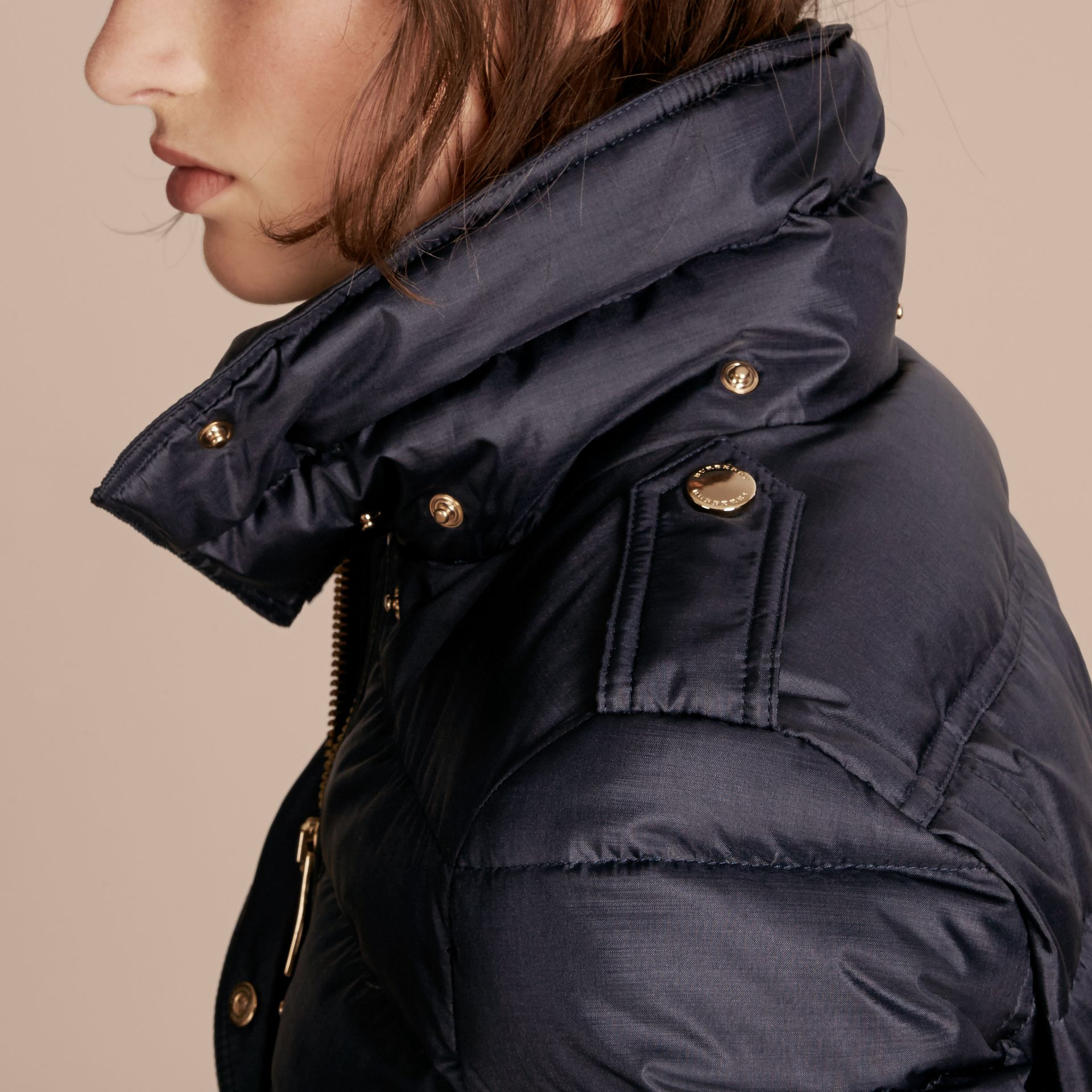 Navy Down-filled Coat with Fur-trimmed Hood Navy - gallery image 5