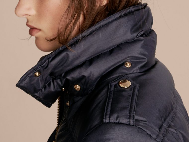 Navy Down-filled Coat with Fur-trimmed Hood Navy - cell image 4