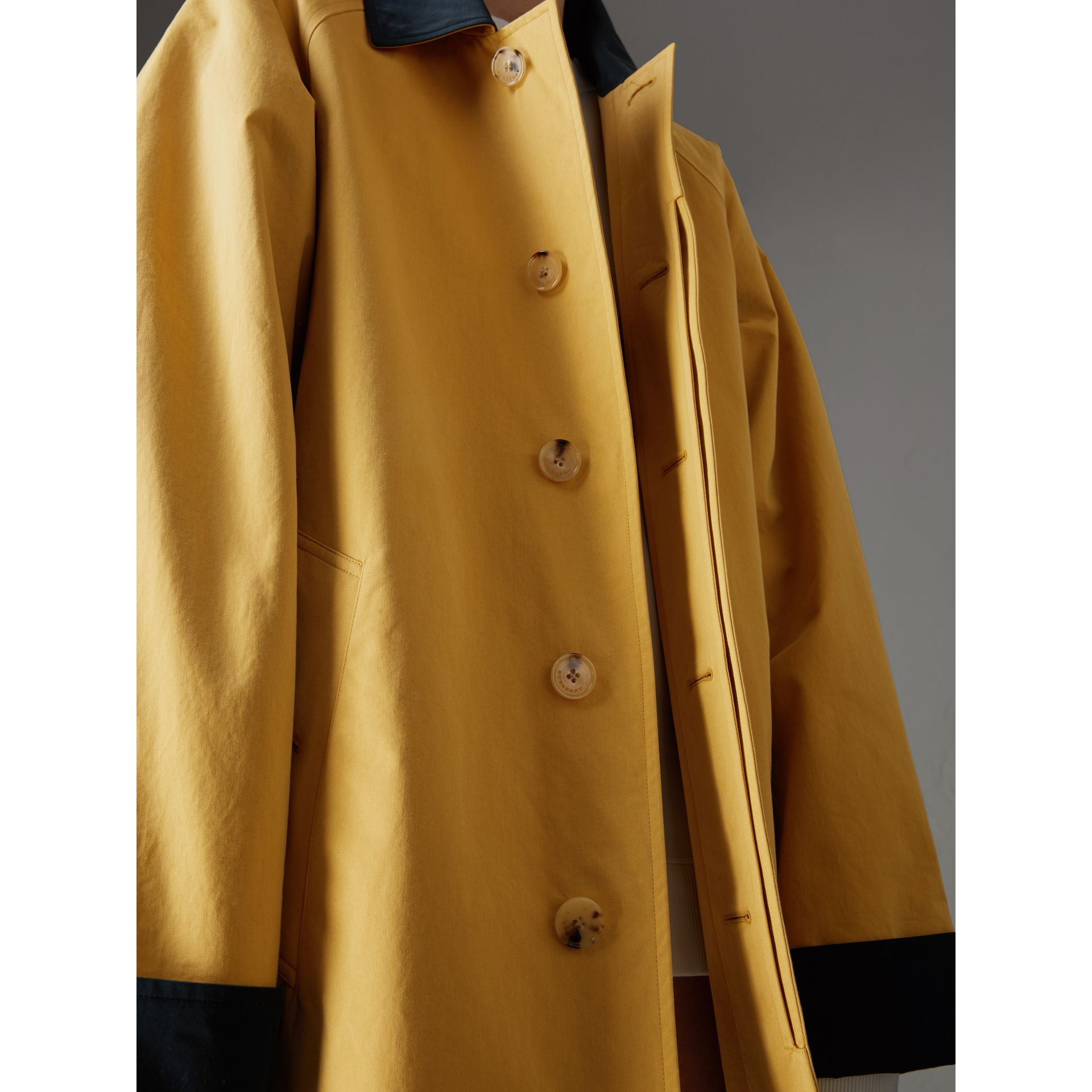 Reissued Waxed Cotton Gabardine Car Coat in Yellow - Women | Burberry Singapore - gallery image 5