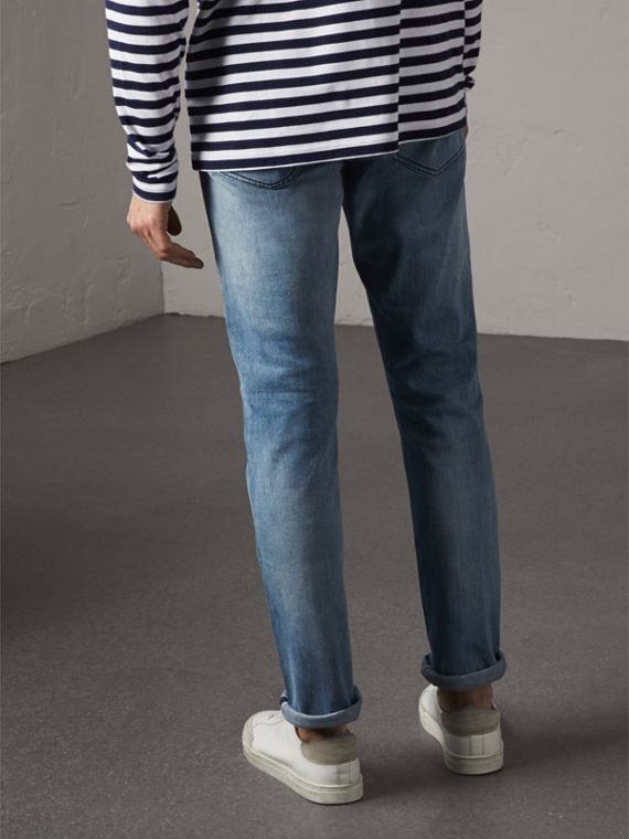 Straight Fit Light-wash Denim Jeans in Indigo Blue - Men | Burberry Australia - cell image 2