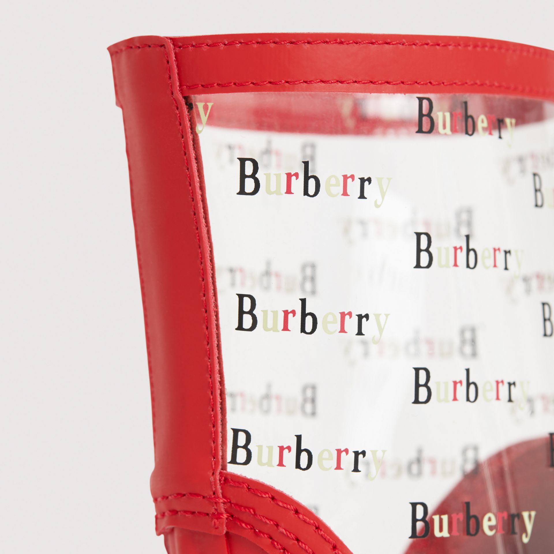 Logo Print Rubber Rain Boots in Bright Red | Burberry - gallery image 1