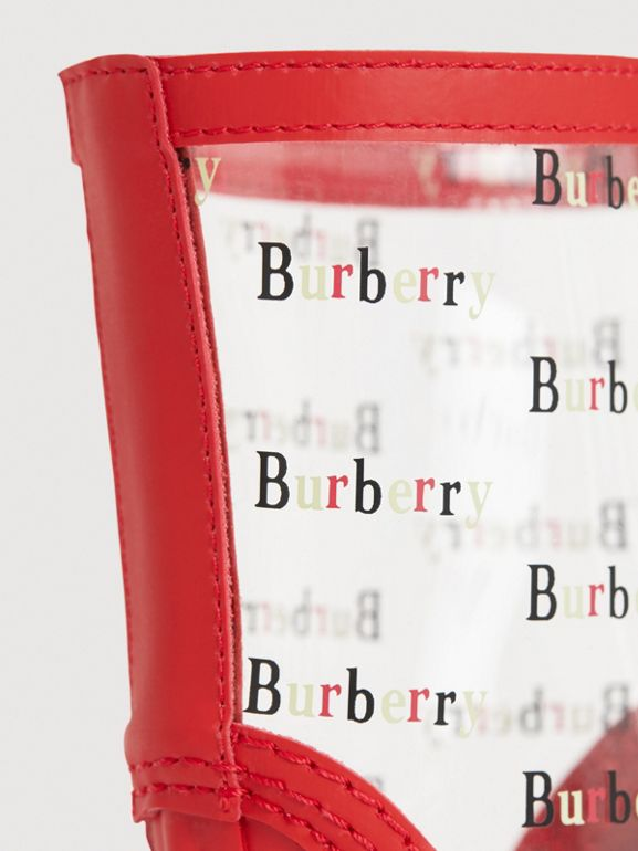 Logo Print Rubber Rain Boots in Bright Red | Burberry - cell image 1
