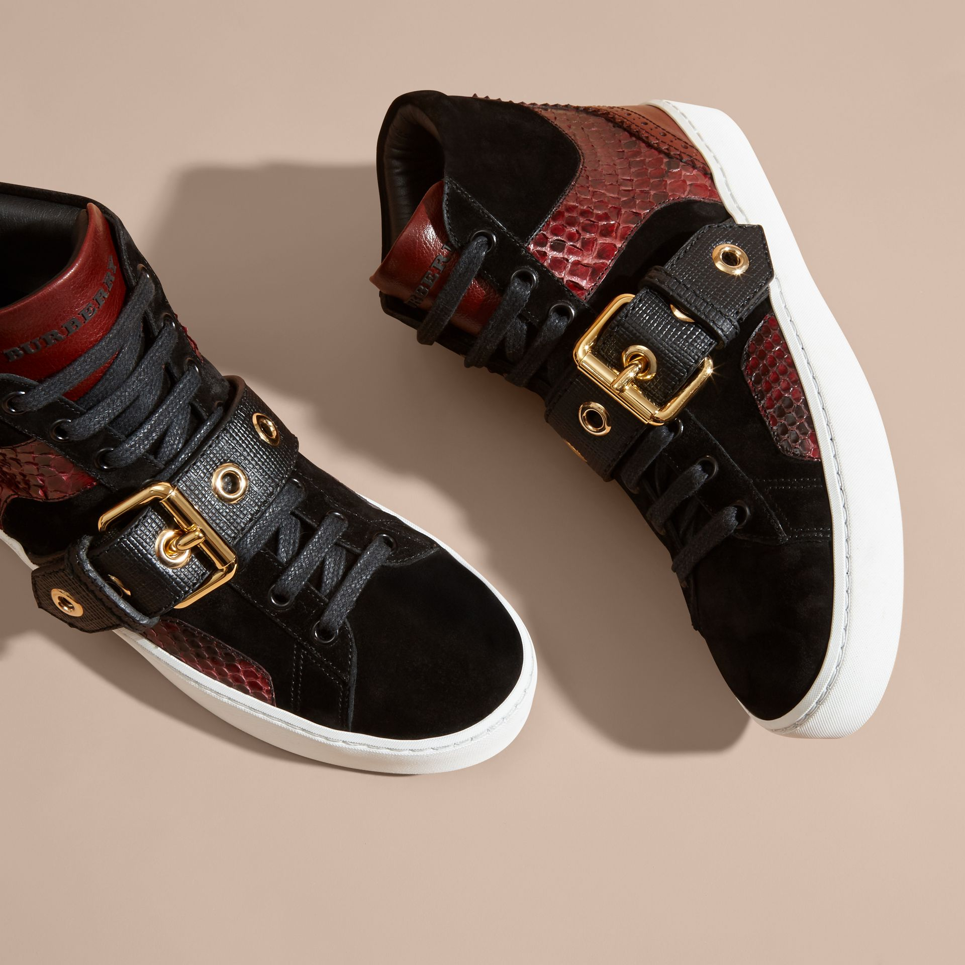 Buckle Detail Leather and Snakeskin High-top Trainers in Bordeaux - gallery image 3