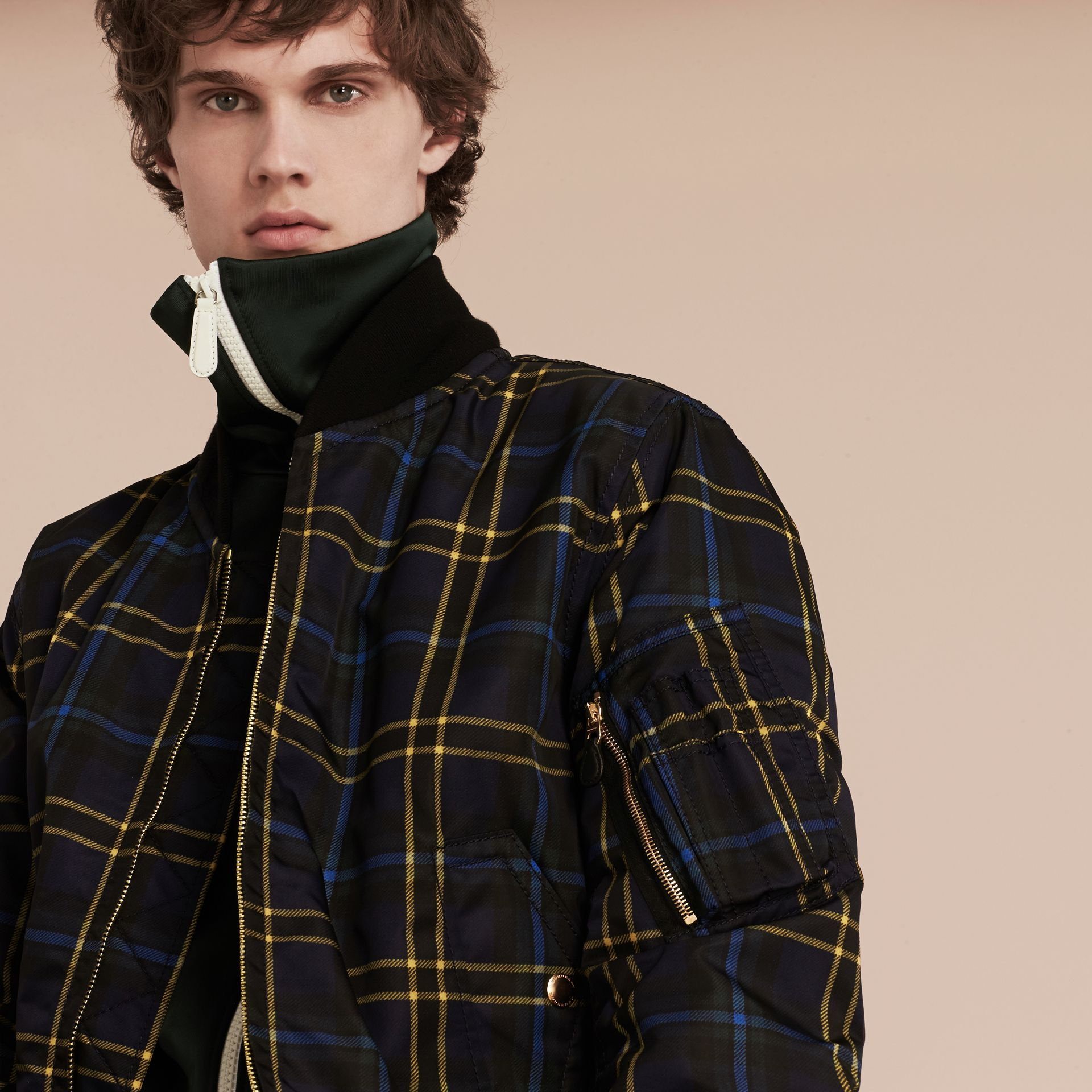 Navy Check Oversize Bomber Jacket - gallery image 5