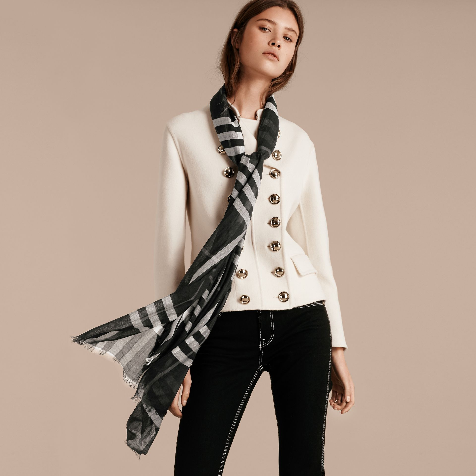 Lightweight Check Wool and Silk Scarf in Black - Women | Burberry - gallery image 3