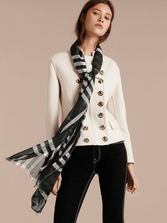 Lightweight Check Wool and Silk Scarf in Black - cell image 2