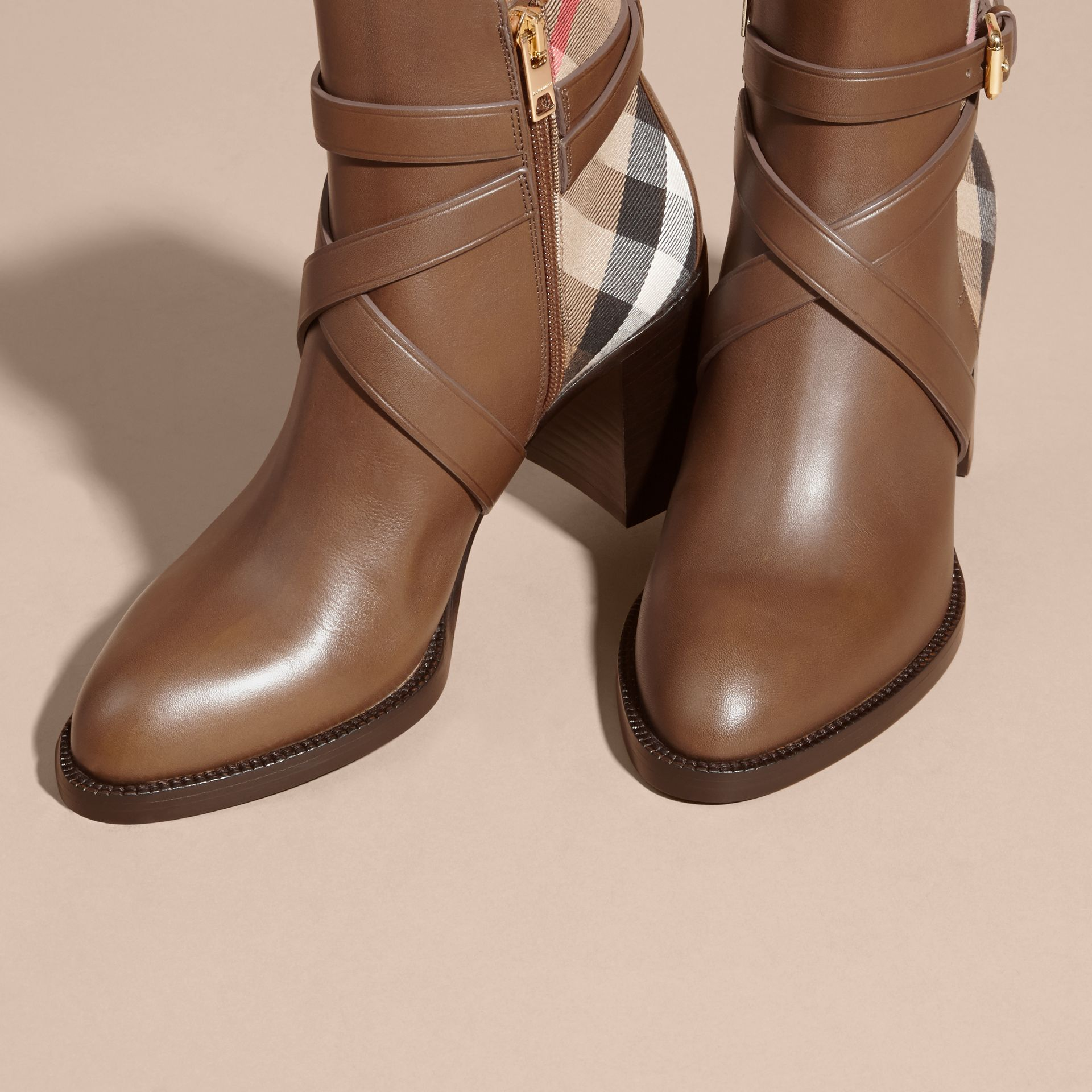 House Check and Leather Ankle Boots Bright Camel - gallery image 3
