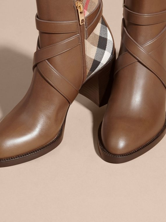 House Check and Leather Ankle Boots Bright Camel - cell image 2