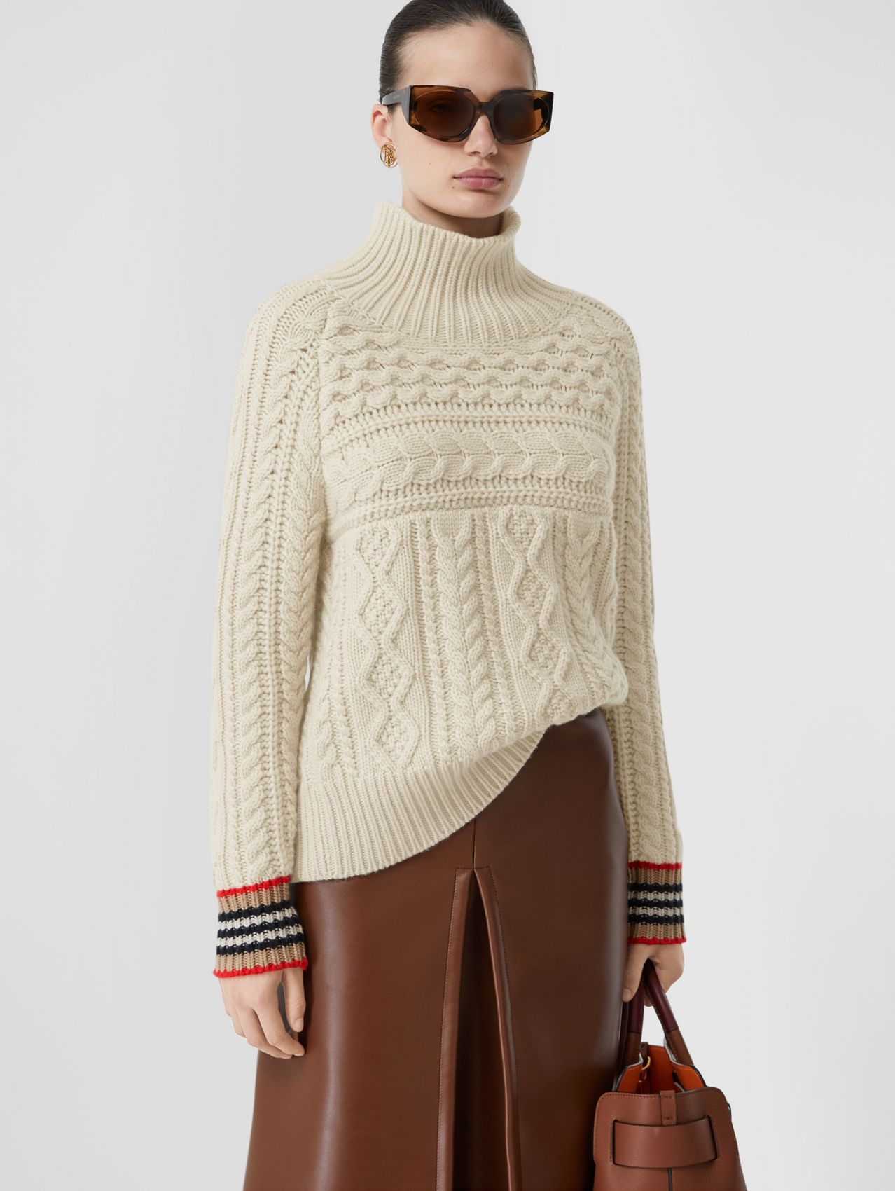 Icon Stripe Cuff Cable Knit Cashmere Sweater in Natural White