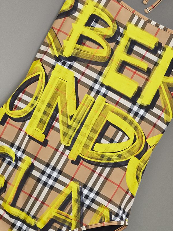 Graffiti Print Vintage Check Halterneck Swimsuit in Bright Yellow - Women | Burberry Singapore - cell image 2