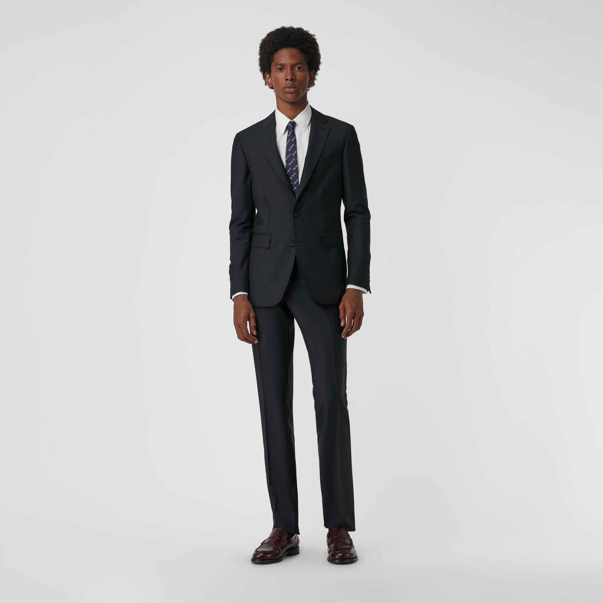 Soho Fit Wool Mohair Suit in Dark Grey Melange - Men | Burberry - gallery image 0