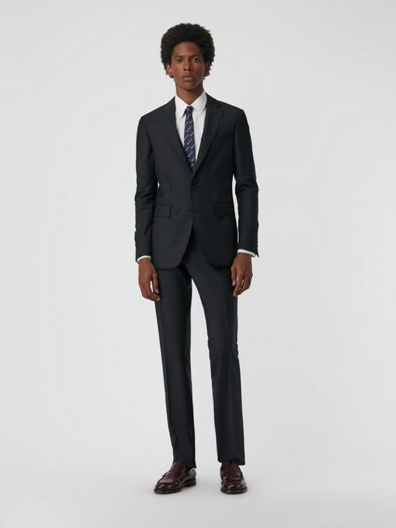 Soho Fit Wool Mohair Suit in Dark Grey Melange