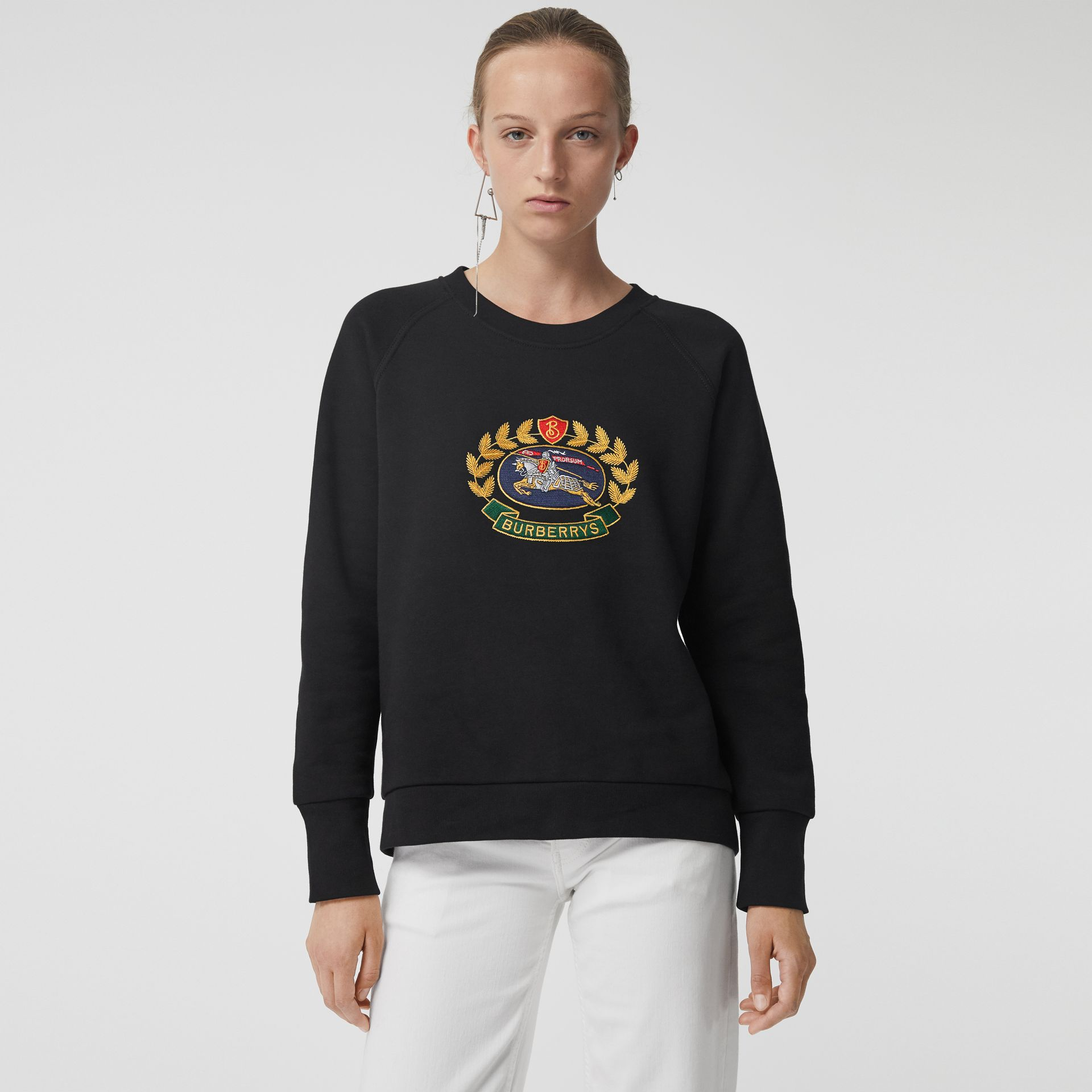 Embroidered Archive Logo Cotton Blend Sweatshirt in Black - Women | Burberry - gallery image 5