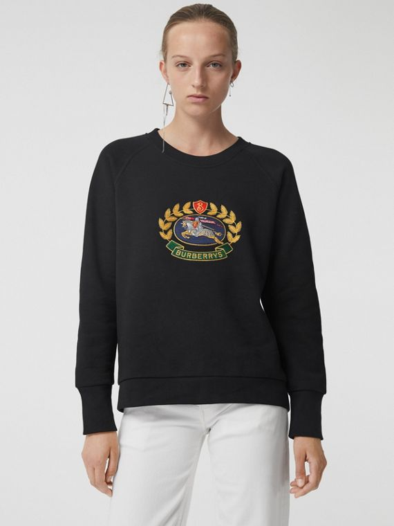 Embroidered Archive Logo Cotton Blend Sweatshirt in Black