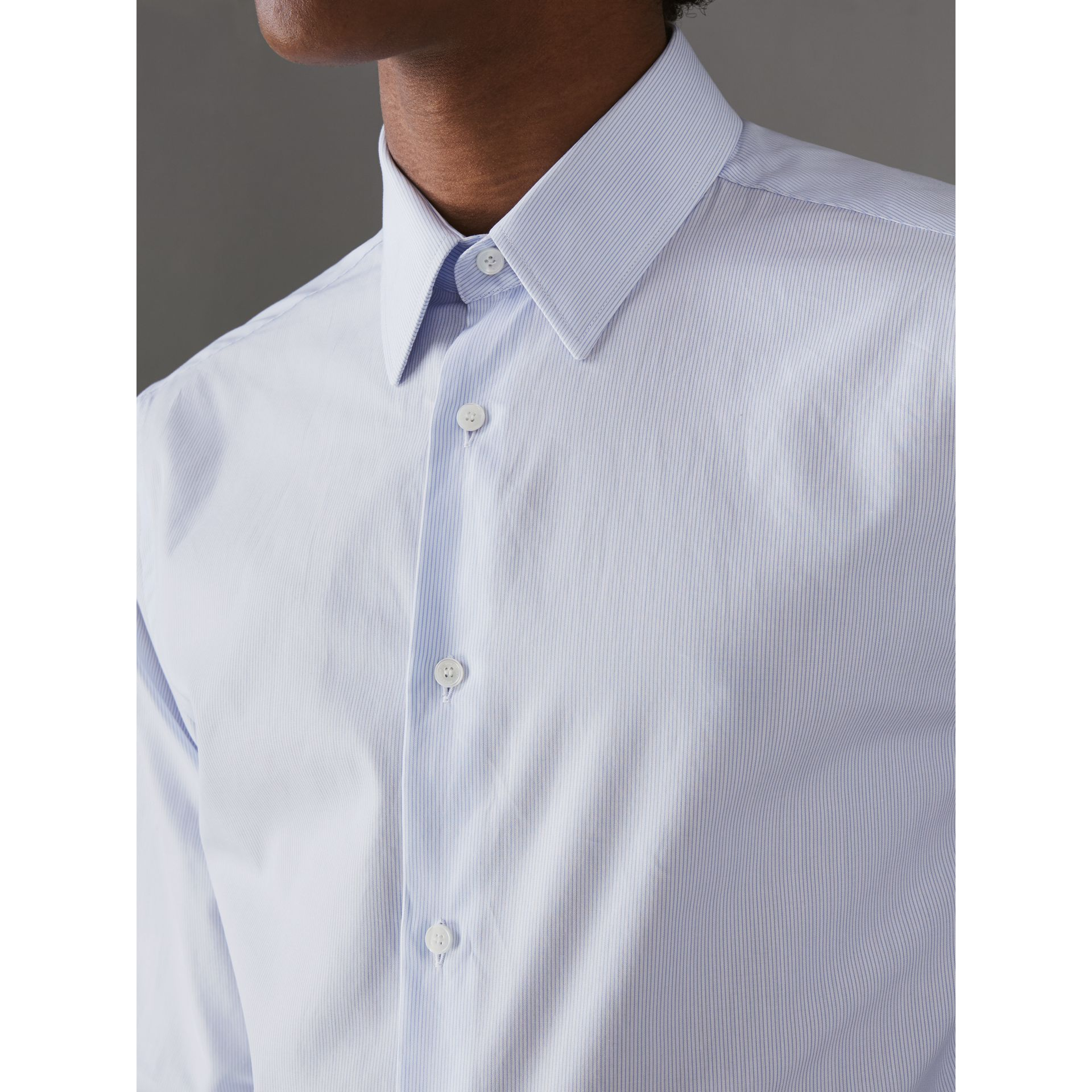 Slim Fit Striped Cotton Poplin Shirt in City Blue - Men | Burberry Australia - gallery image 1