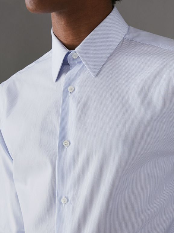 Slim Fit Striped Cotton Poplin Shirt in City Blue - Men | Burberry - cell image 1