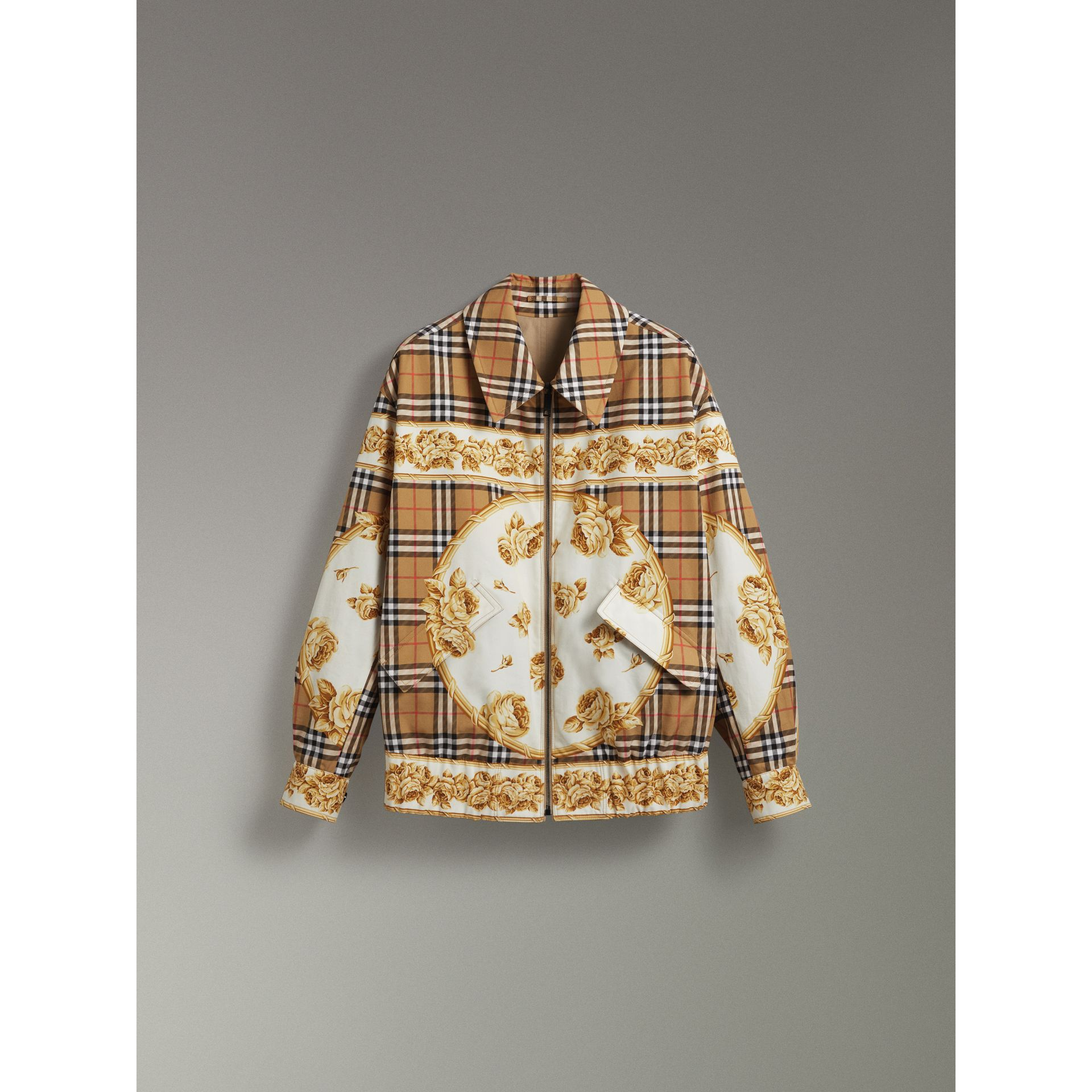 Reversible Archive Scarf Print Harrington Jacket in Antique Yellow - Women | Burberry United Kingdom - gallery image 3