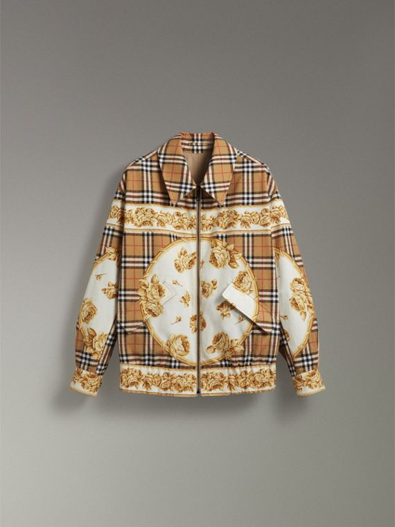 Reversible Archive Scarf Print Harrington Jacket in Antique Yellow - Women | Burberry - cell image 3