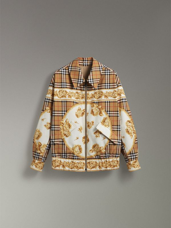 Reversible Archive Scarf Print Harrington Jacket in Antique Yellow - Women | Burberry Singapore - cell image 3