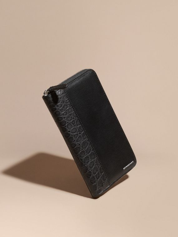 London Leather and Alligator Ziparound Wallet in Black