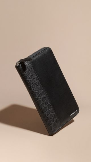 London Leather and Alligator Folding Wallet