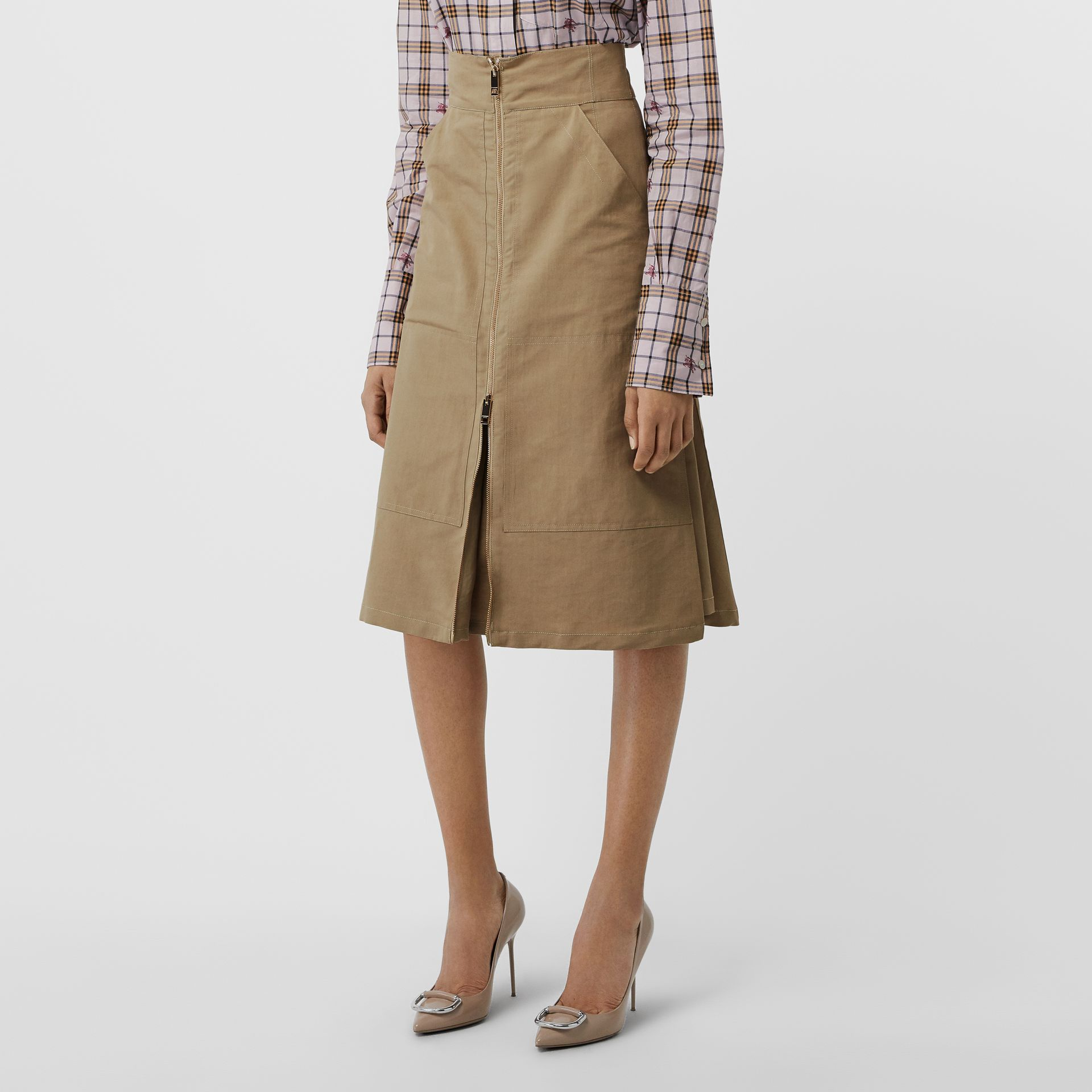 Cotton Silk High-waisted Skirt in Beige - Women | Burberry - gallery image 4