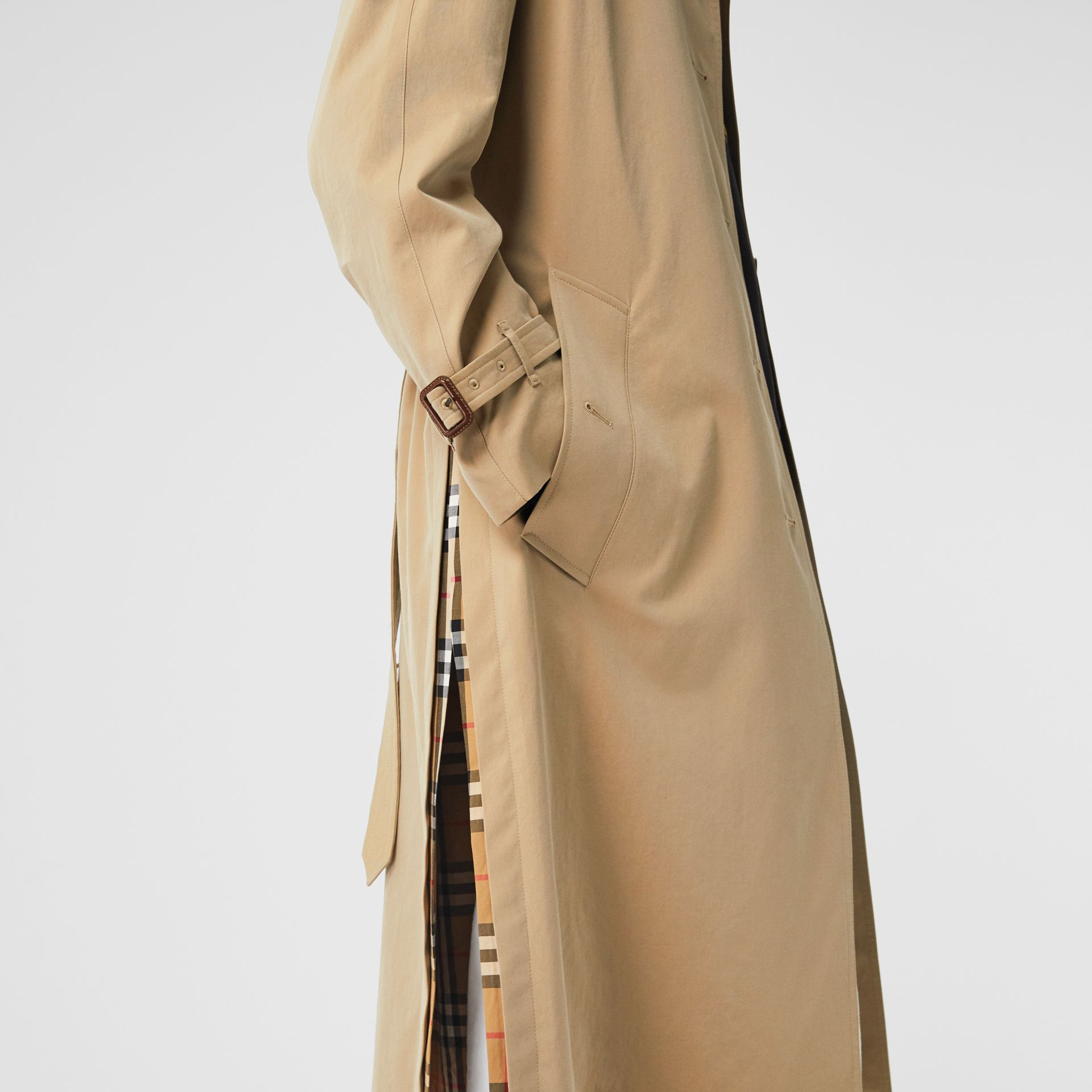 Side-slit Tropical Gabardine Trench Coat in Honey - Women | Burberry United States - gallery image 5