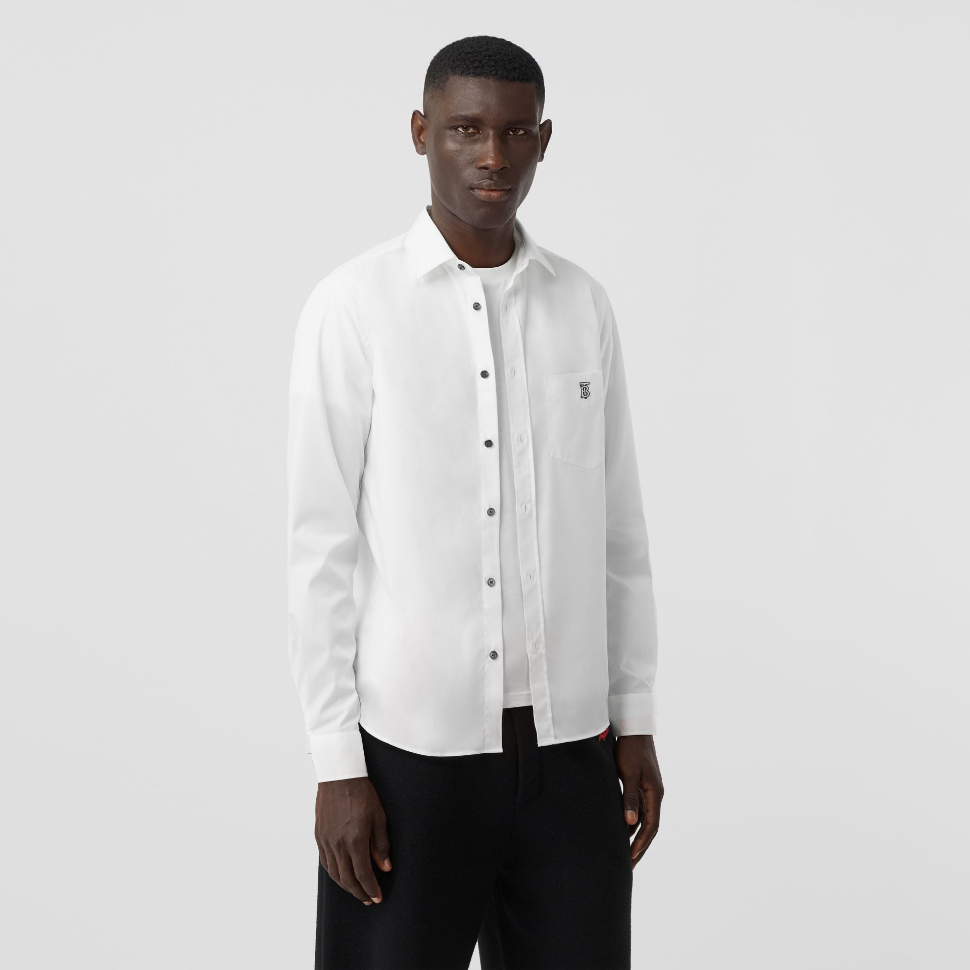 Monogram Motif Stretch Cotton Poplin Shirt in White - Men | Burberry - gallery image 4