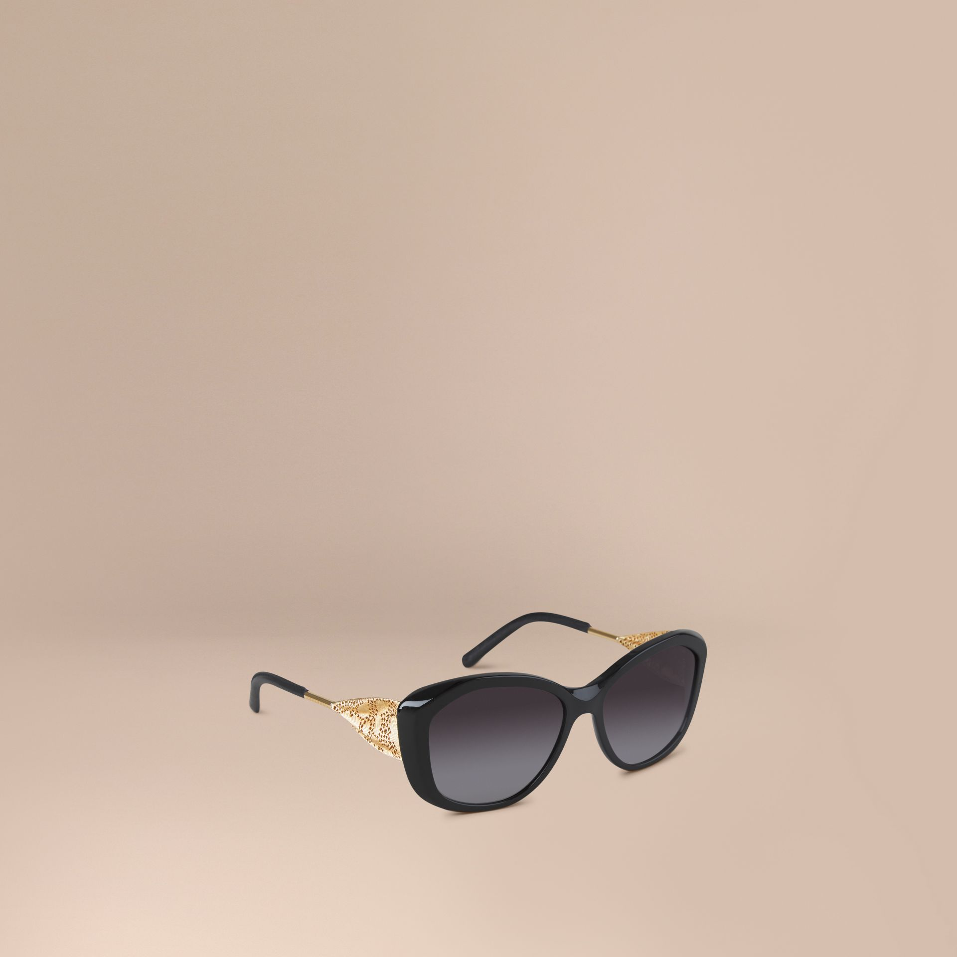 Gabardine Lace Collection Square Frame Sunglasses in Black - gallery image 1