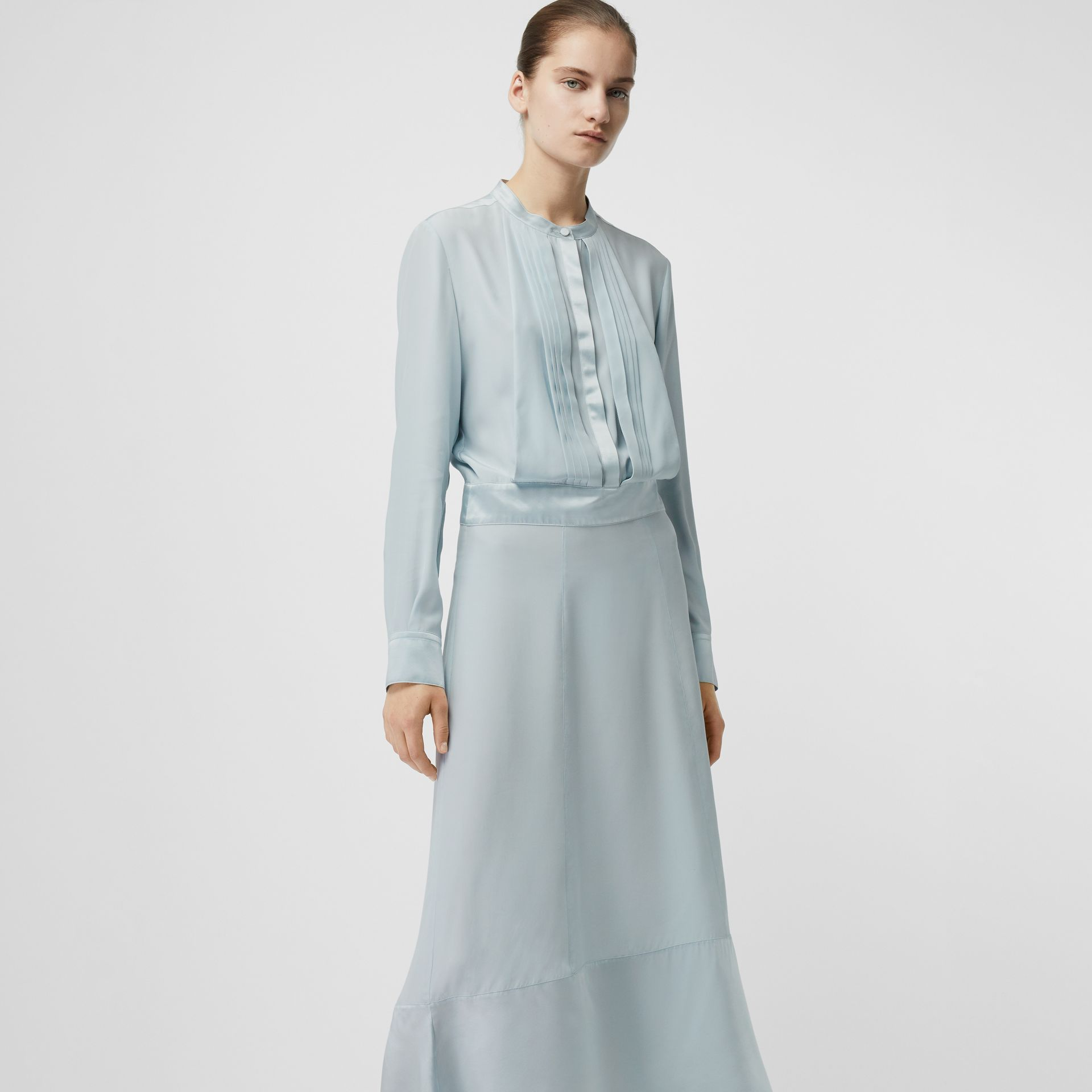 Silk Satin Shirt Dress in Pale Blue - Women | Burberry - gallery image 4