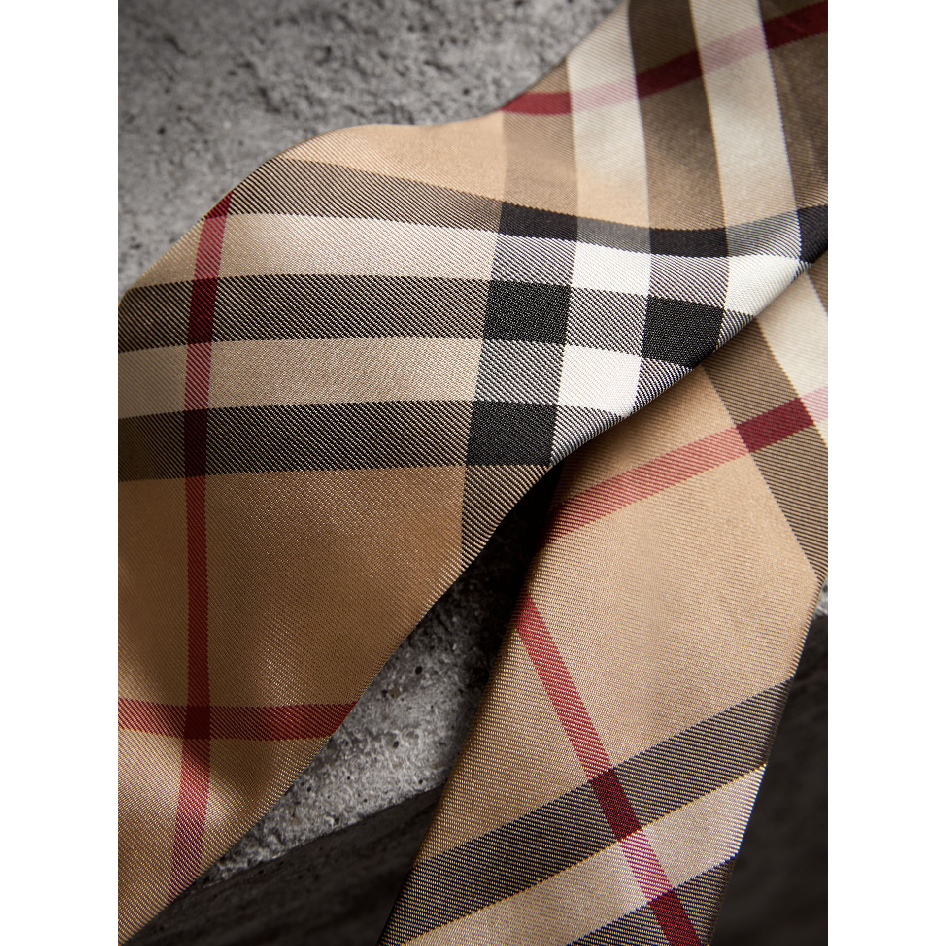 Modern Cut Check Silk Twill Tie in Camel - Men | Burberry - gallery image 1