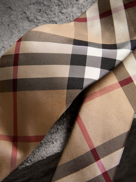 Modern Cut Check Silk Twill Tie in Camel - Men | Burberry United Kingdom - cell image 1