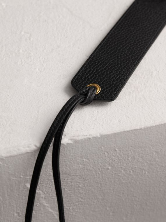 Embossed Leather Bookmark in Black | Burberry United States - cell image 3