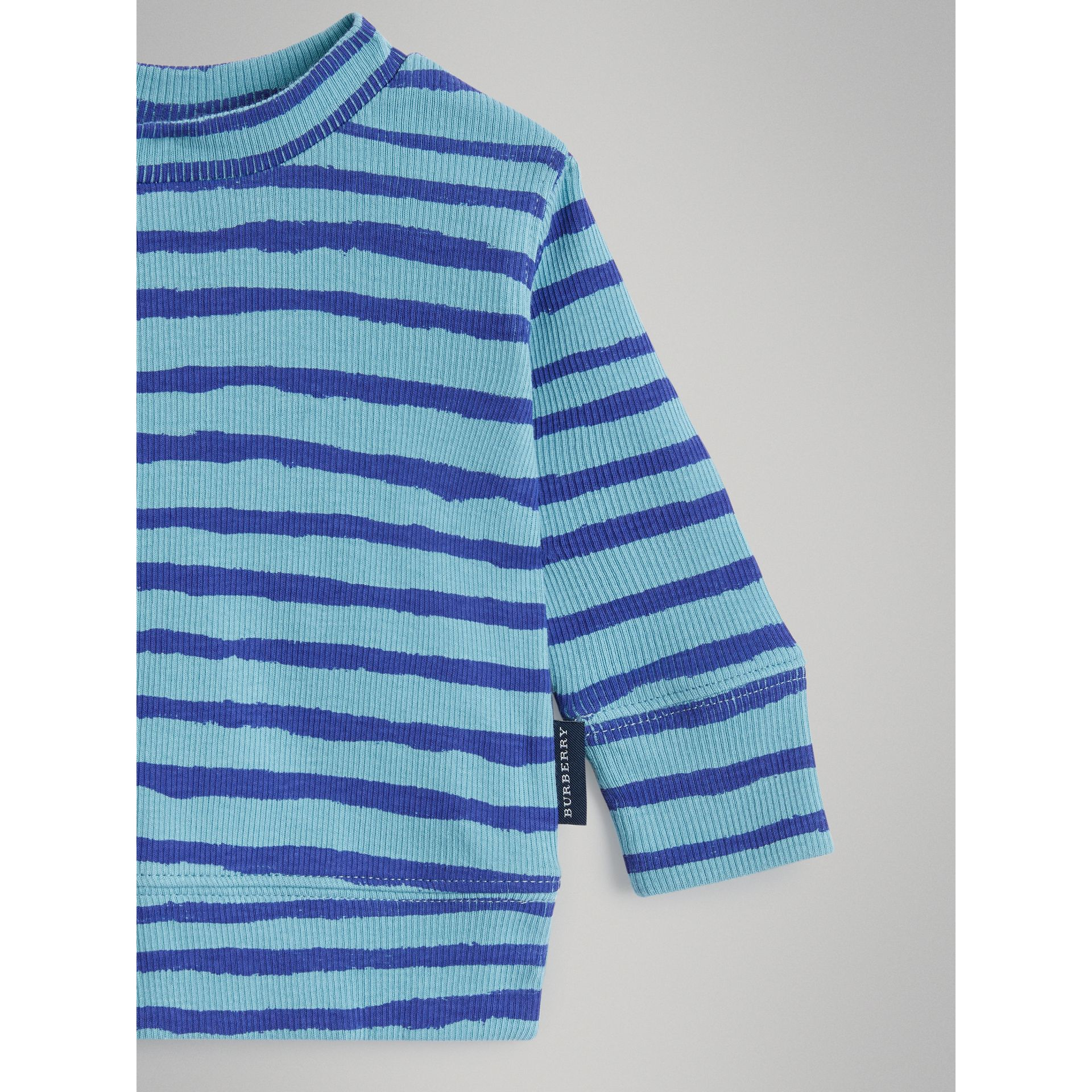 Striped Cotton Two-piece Baby Gift Set in Teal - Children | Burberry - gallery image 4