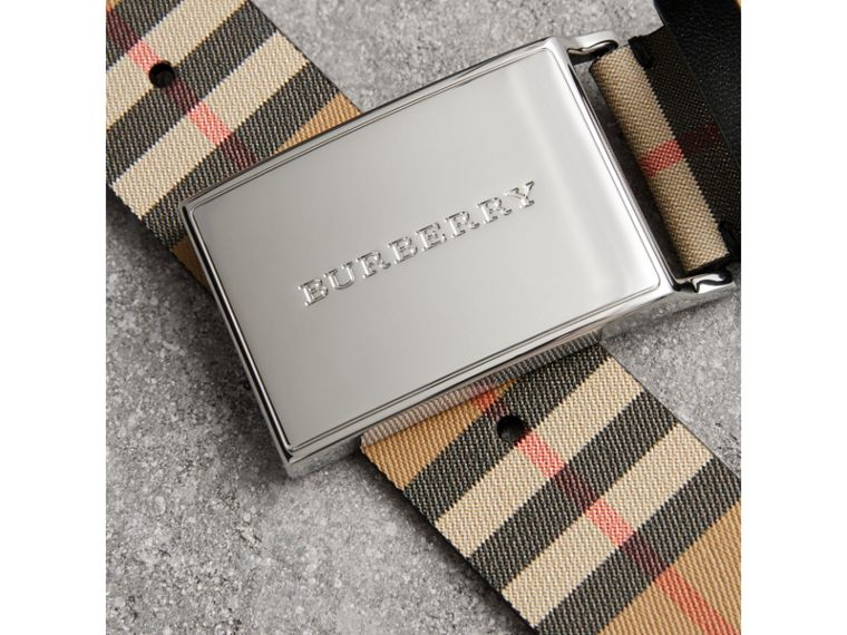 Plaque Buckle Vintage Check Leather Belt in Black - Men | Burberry United States - cell image 1