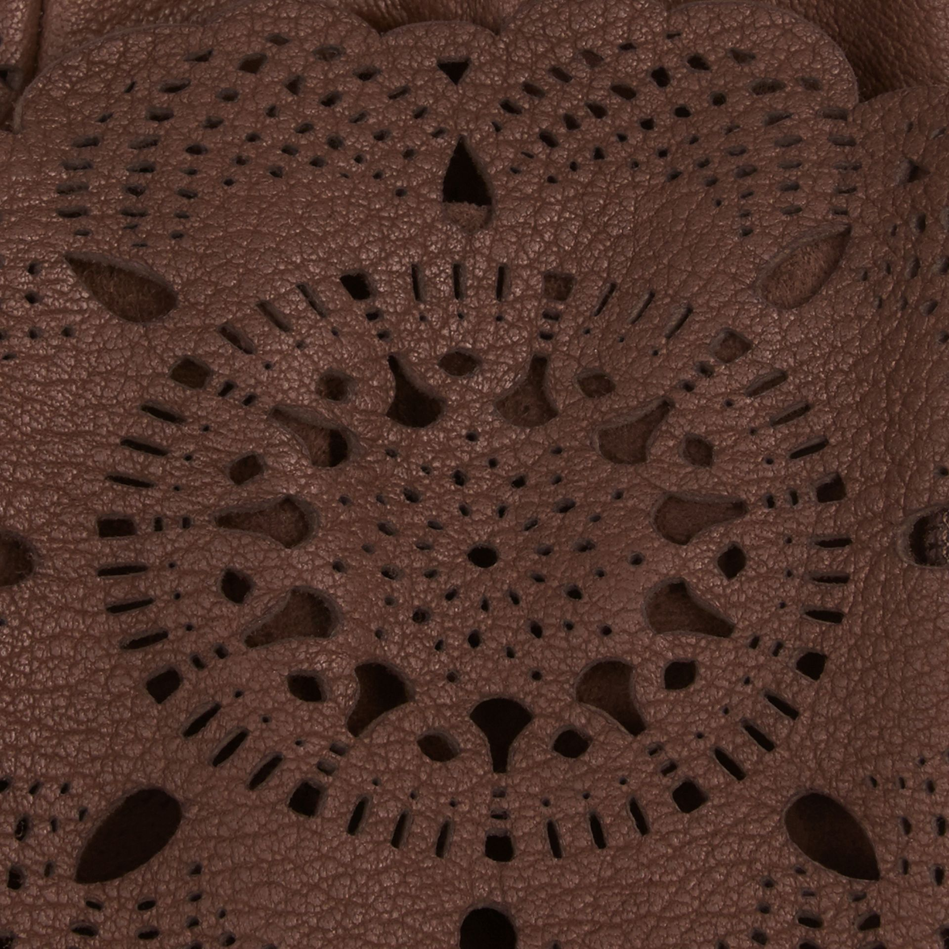 Chocolate Laser-Cut Lace Leather Gloves - gallery image 2